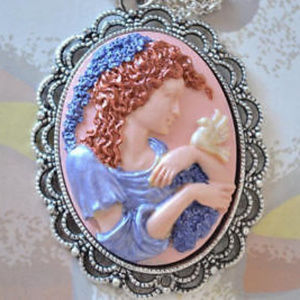 Jewelry - Art Nouveau Style Hand Painted Cameo Necklace